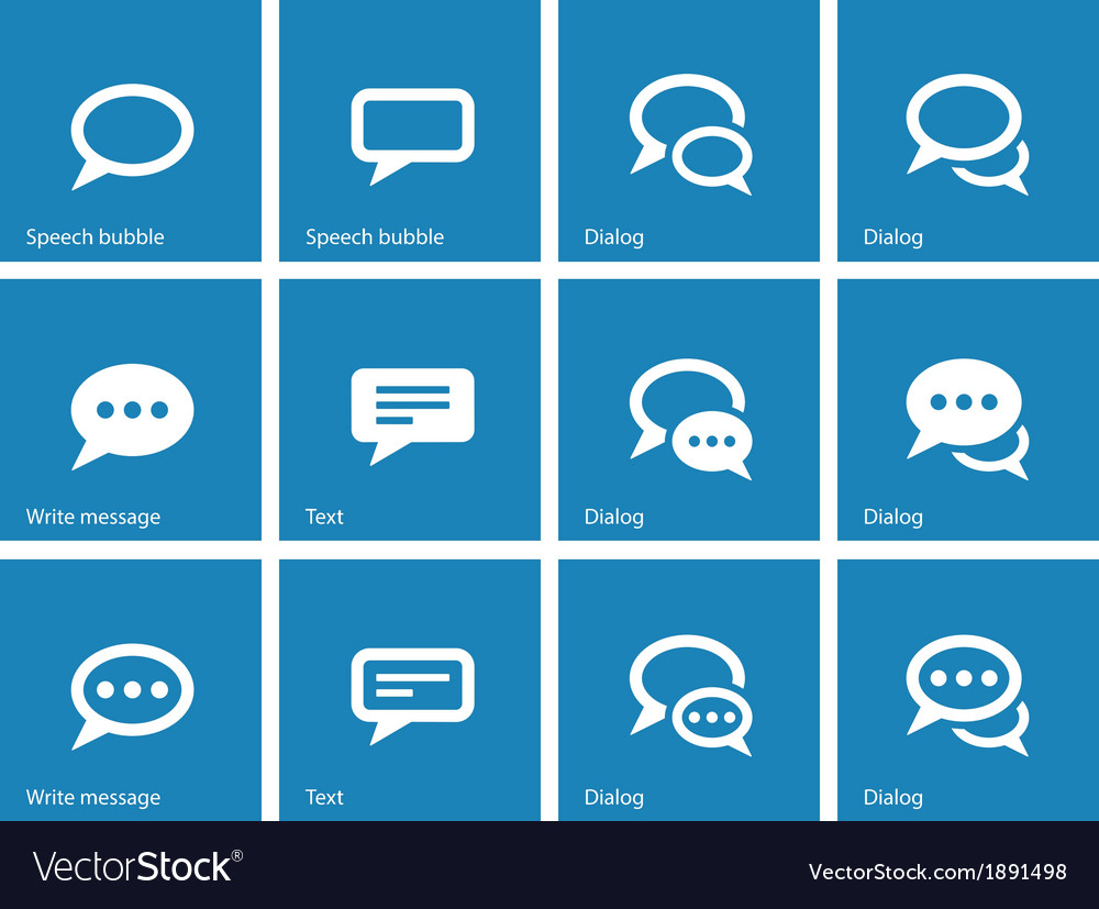 Speech bubble icons on blue background
