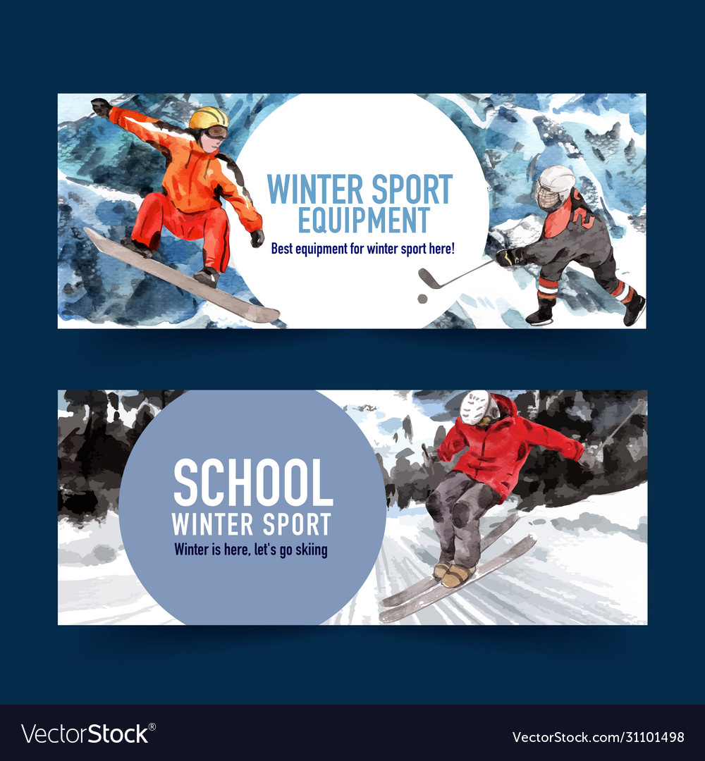 Winter sport banner design with mountain snow ski