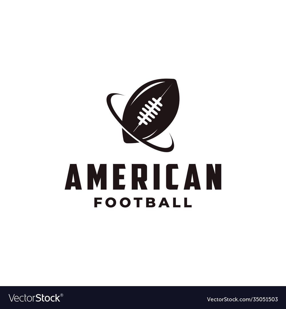 American football sport logo with gridiron ball