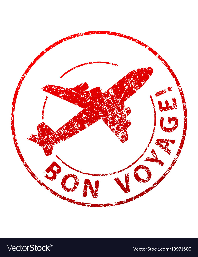 bon voyage rubber stamp royalty free vector image