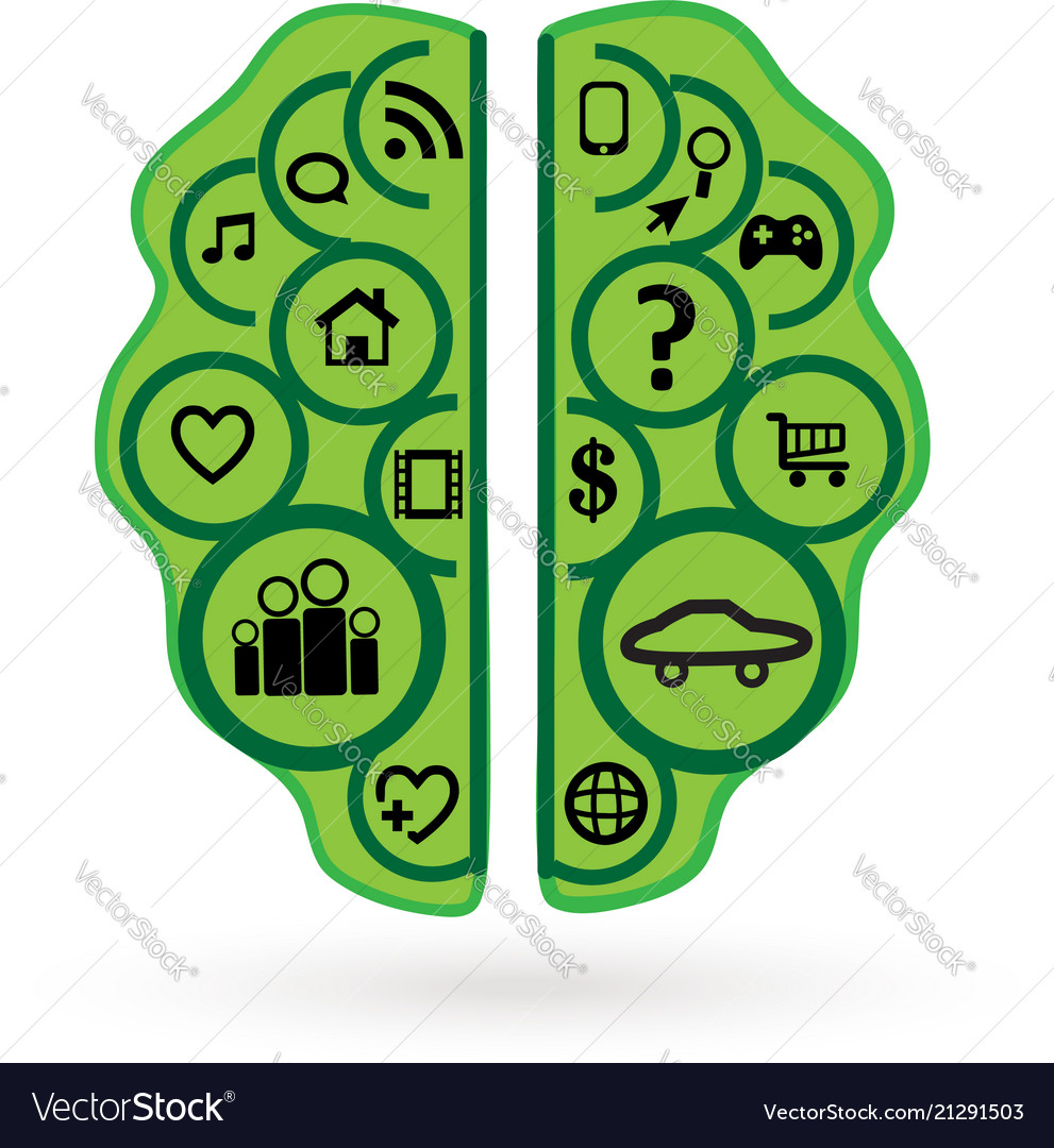 Brainstorming business green brain icon