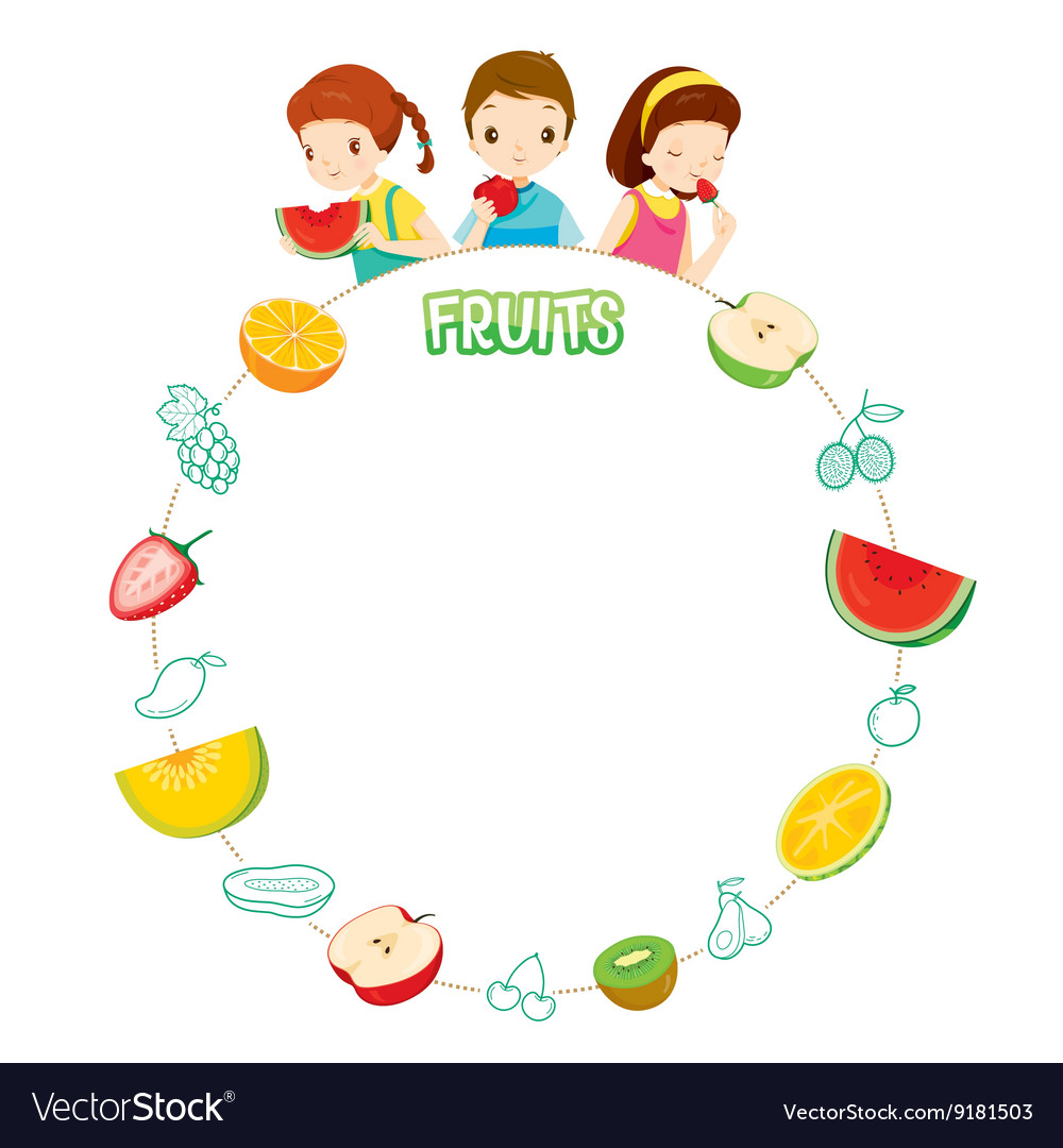 Children And Fruits Objects Icons On Circle Frame