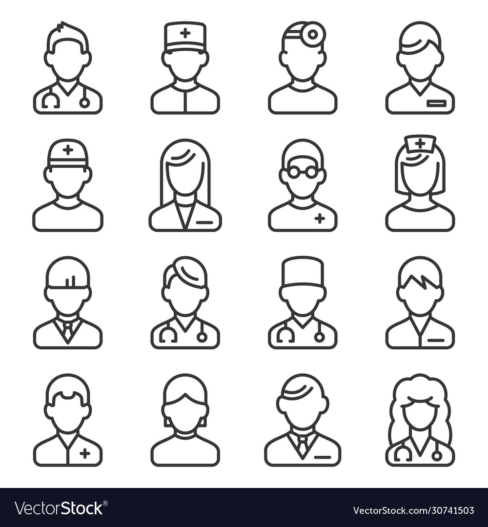 Doctor icons set on white background line style