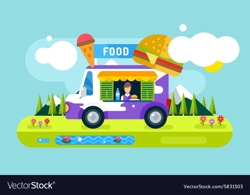 Fast food restaurant car Food festival outdoor vector image