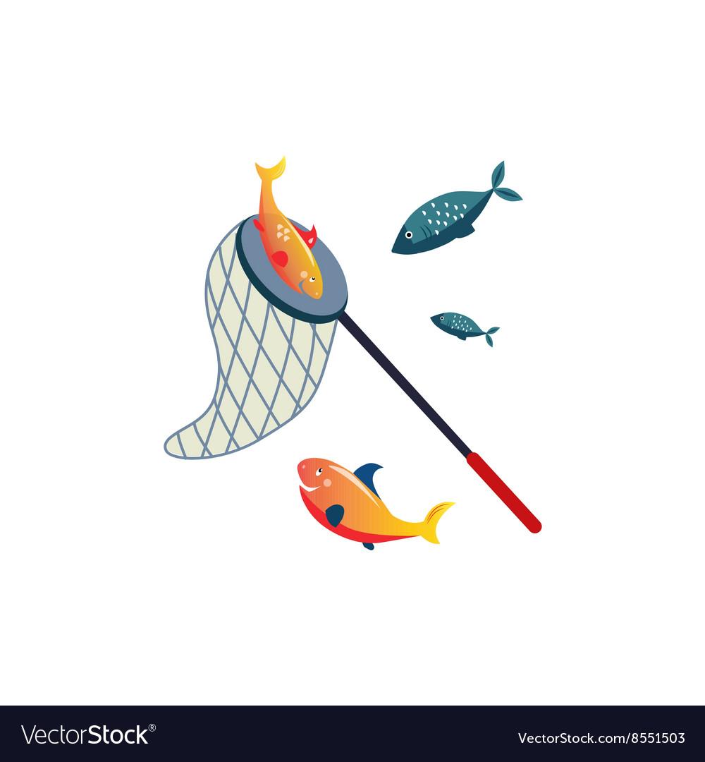 Fishing Net On Stick And Fish