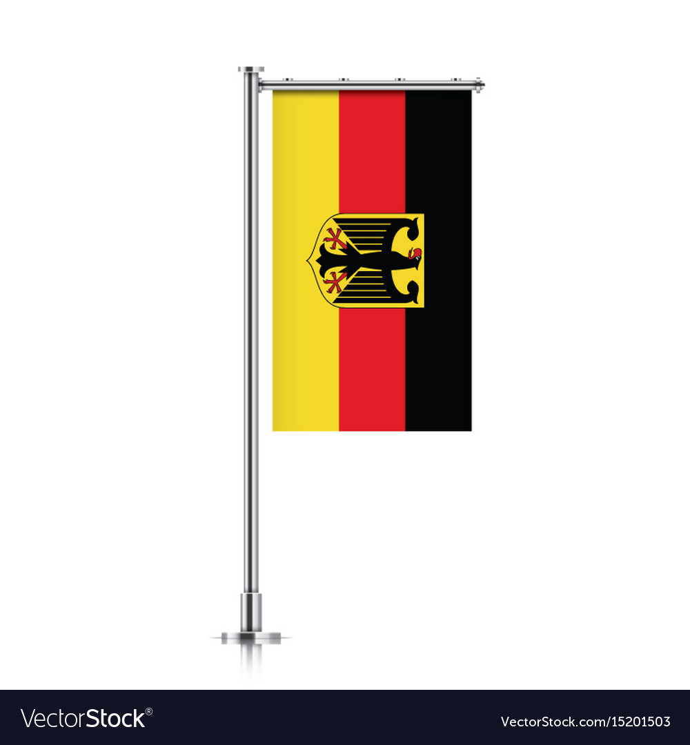 Flag of germany hanging on a pole vector image