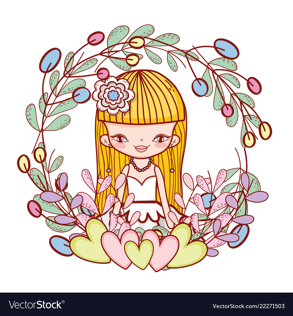 Girl with hearts and flowers plants leaves