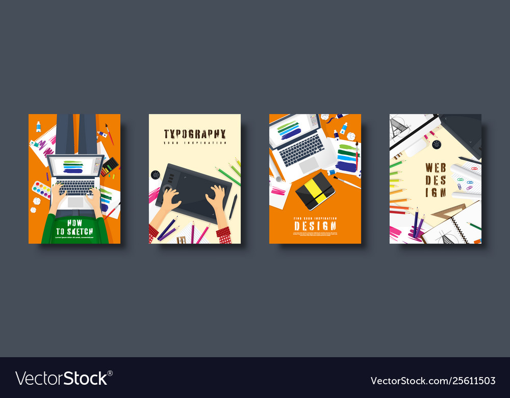 Graphic and web design flat style covers set