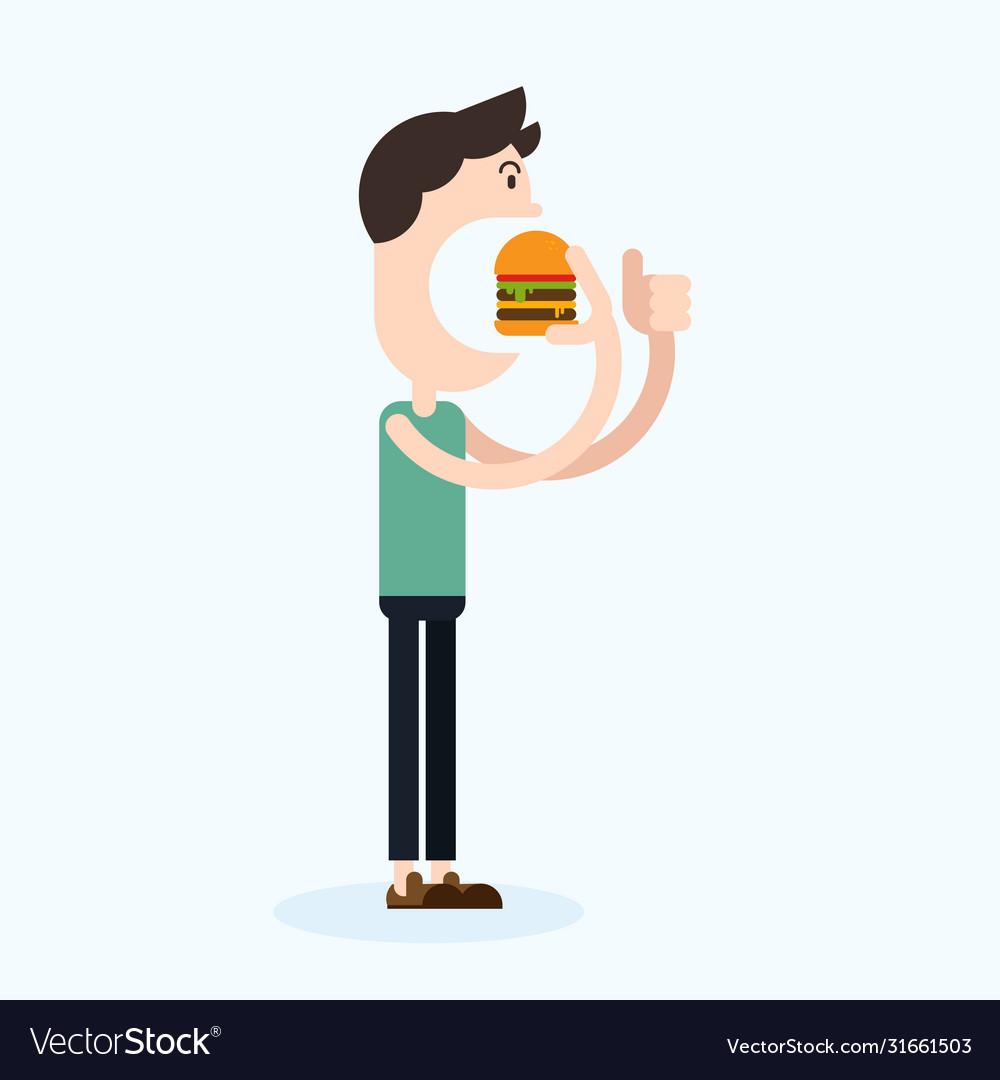 Happy man eating hamburger flat design