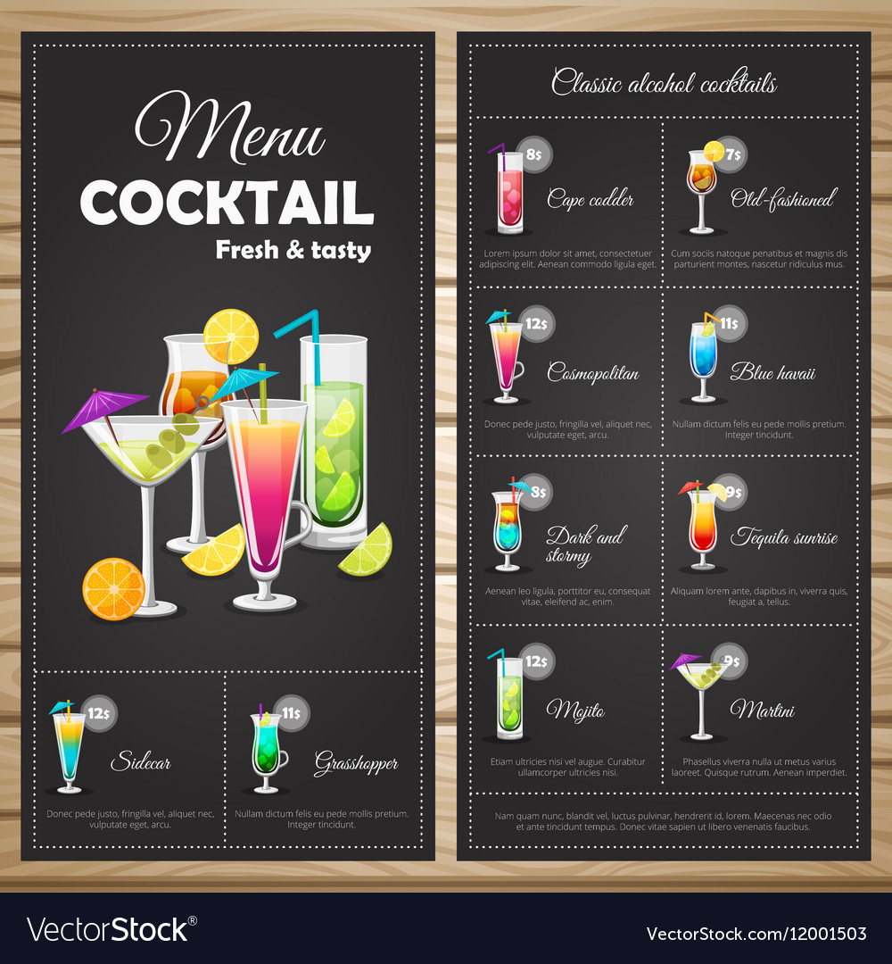 menu classic alcohol cocktails royalty free vector image