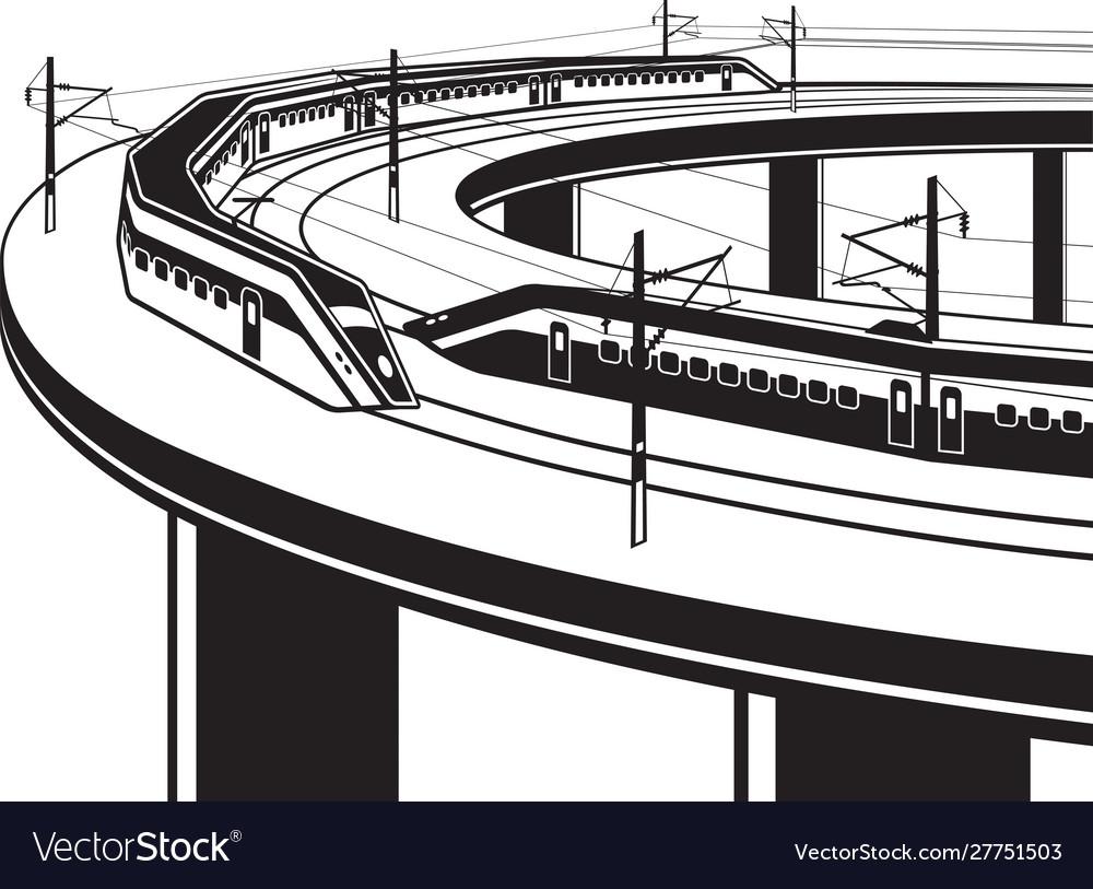 Passenger trains cross bridge