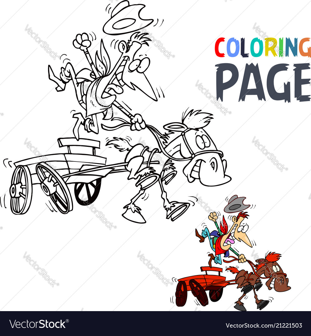 People ride wagon cartoon coloring page