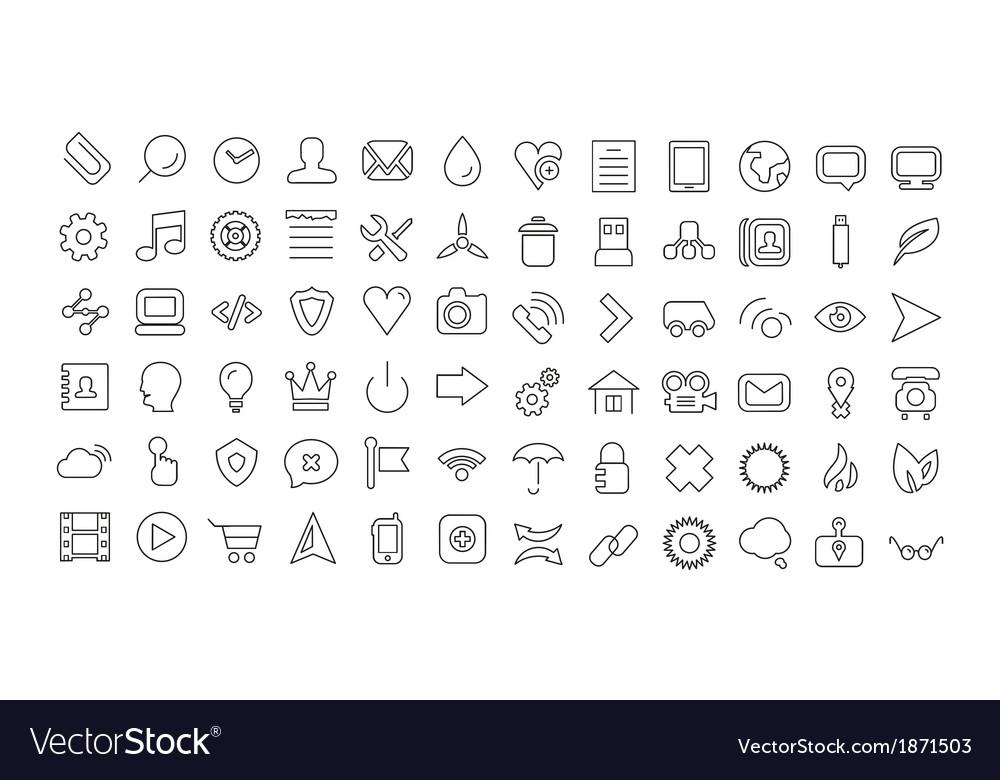 Web line icon set Universal thin icons vector image