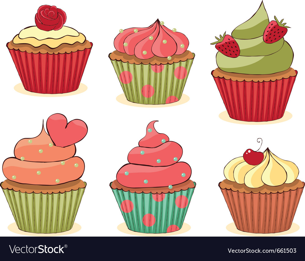 Yummy cupcakes vector image