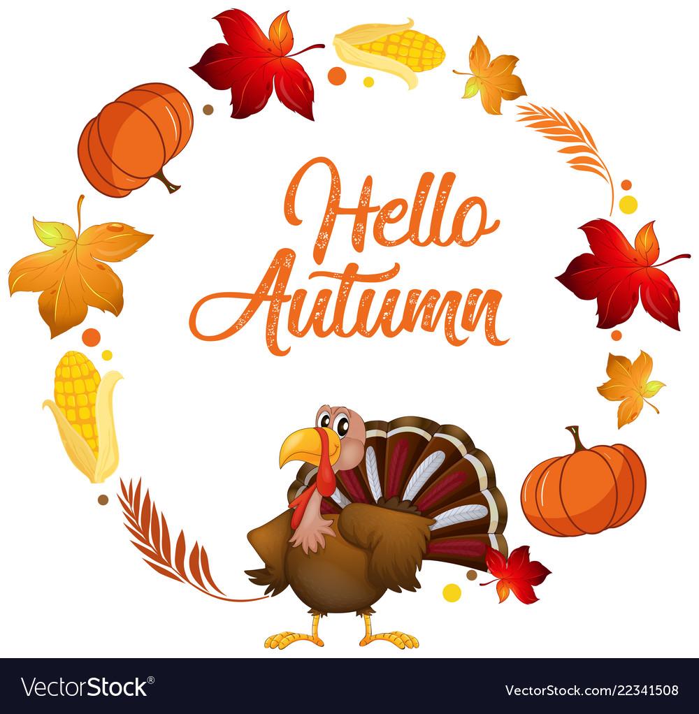 A turkey on autumn card template
