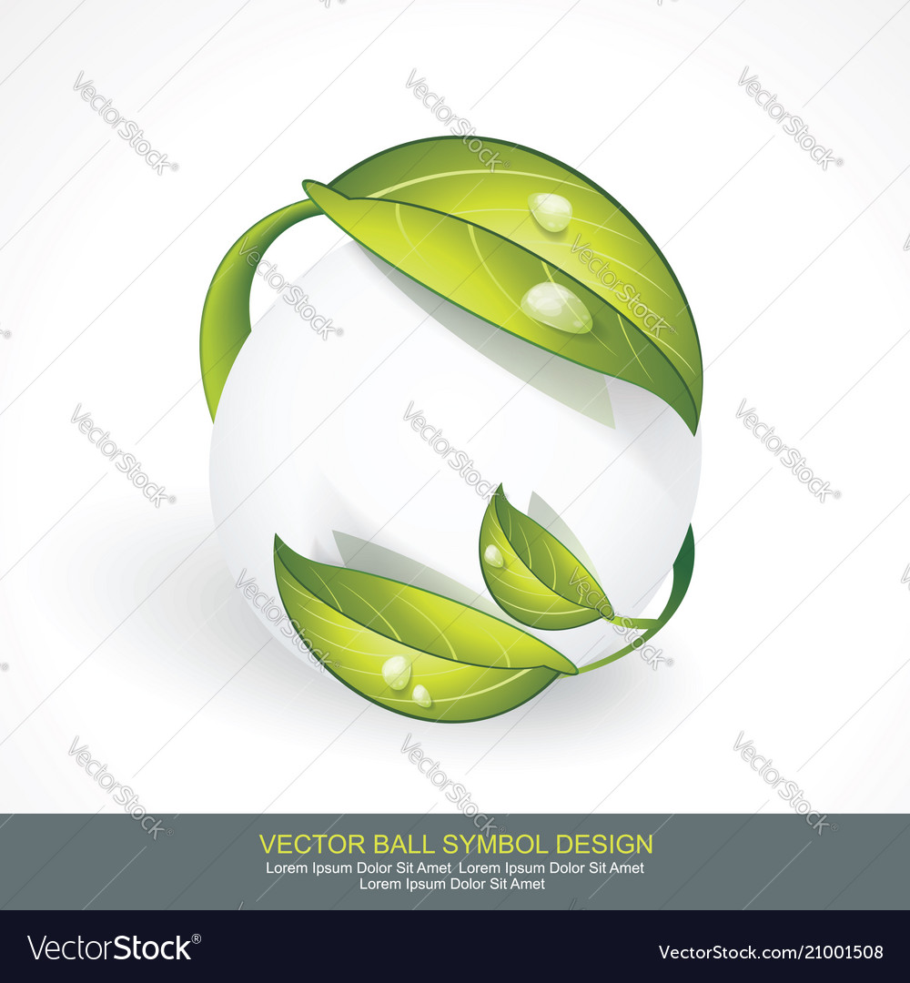 Abstract sphere icon with green leaves volume