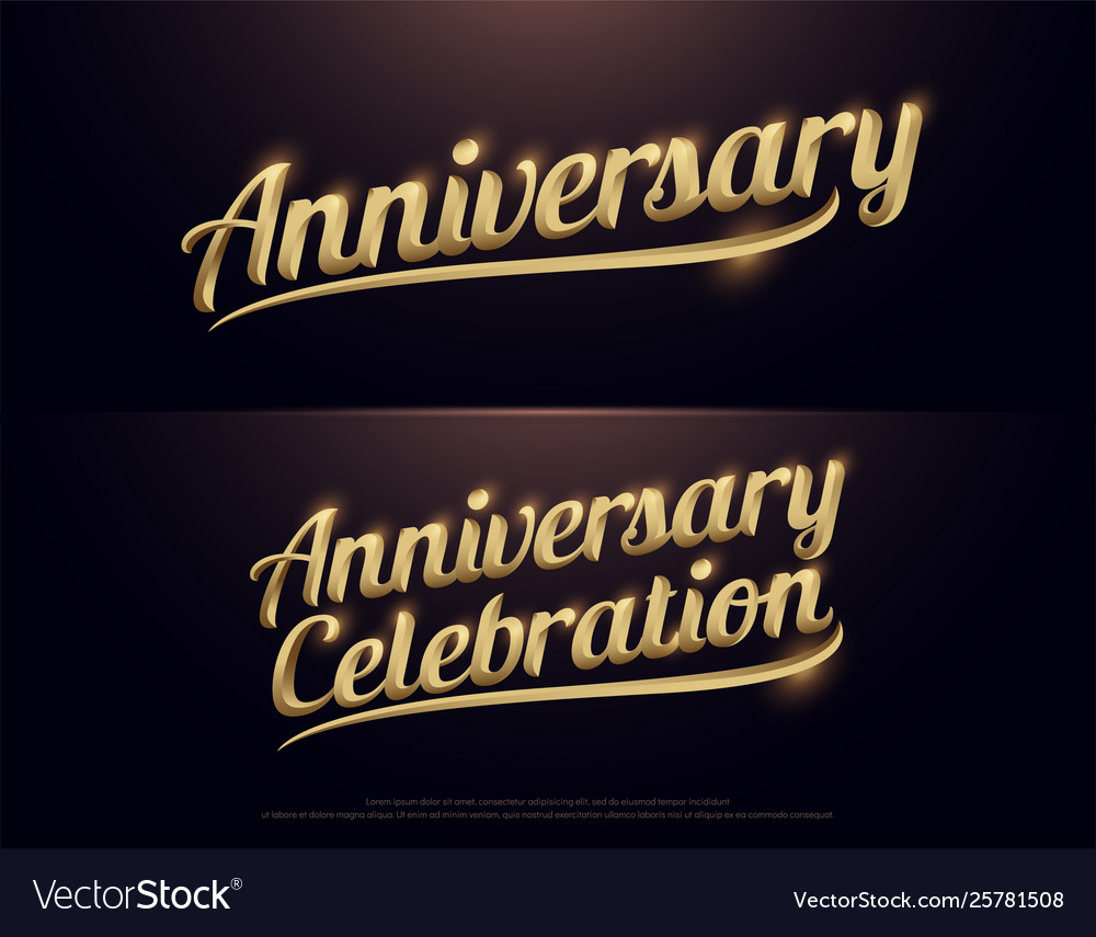 Anniversary celebration golden logo calligraphy