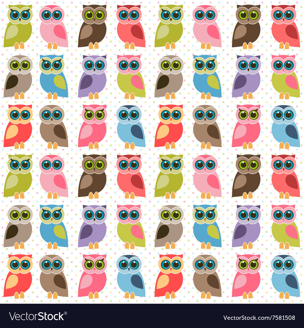 Background with colorful cute owls