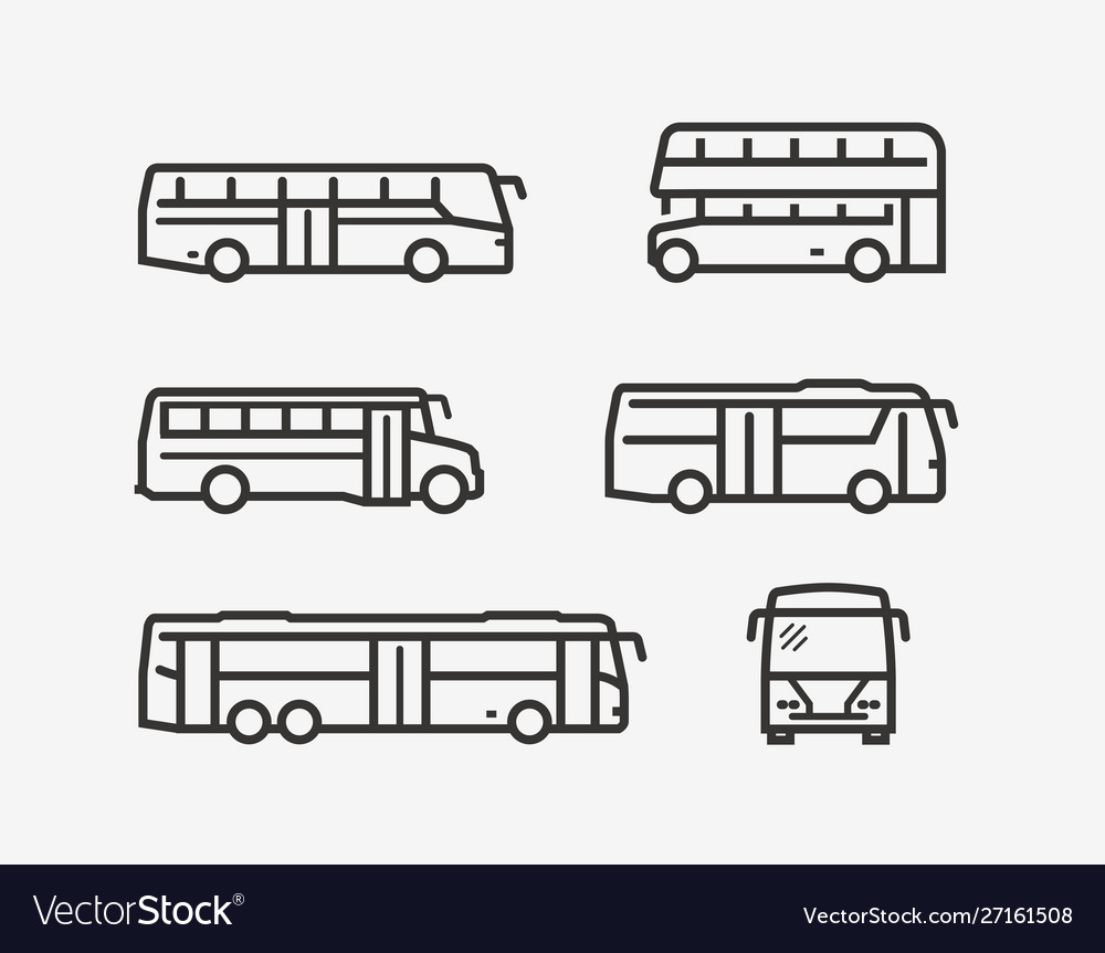 Bus icon set transport symbol in linear style