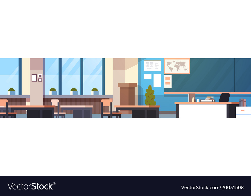 Class room interior horizontal banner empty school