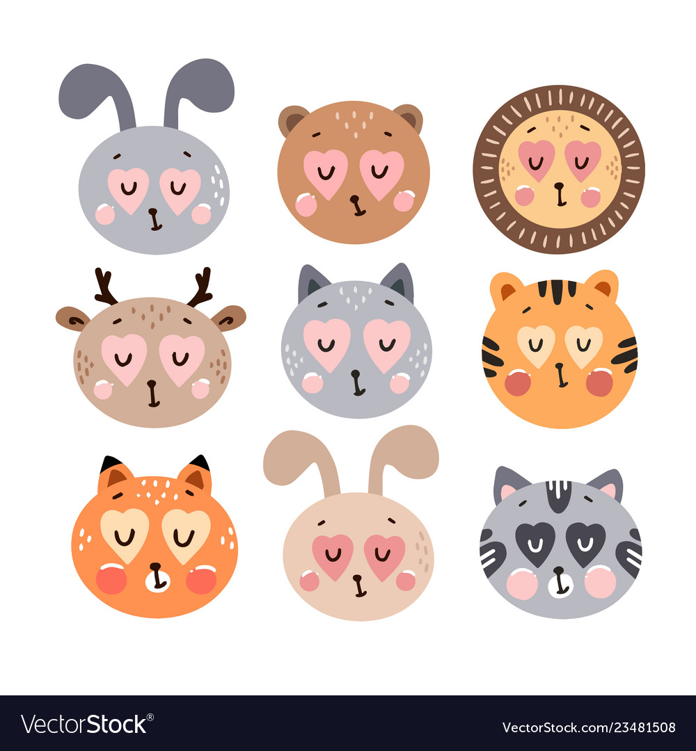 Cute happy animals collection
