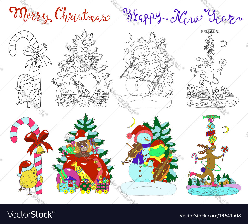Design set with christmas characters