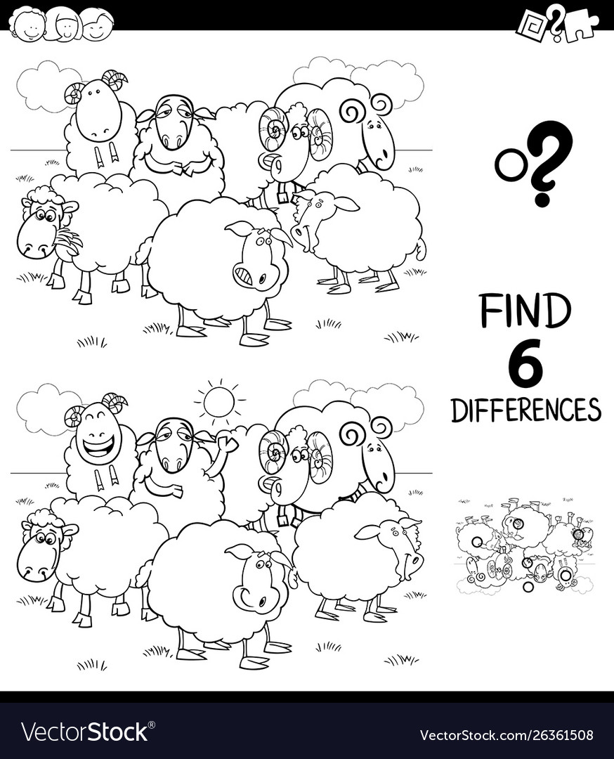 Differences color book with farm sheep