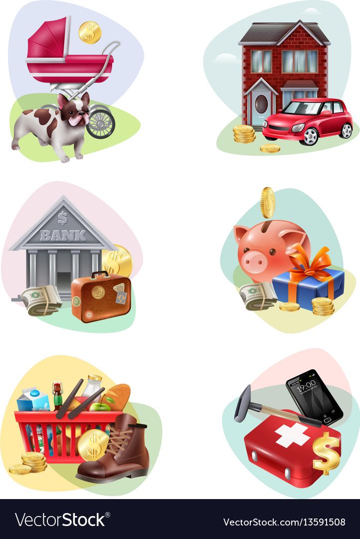 Financial expenses icon set