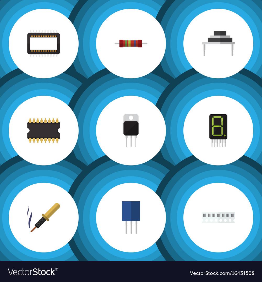 Flat icon technology set of destination repair vector image