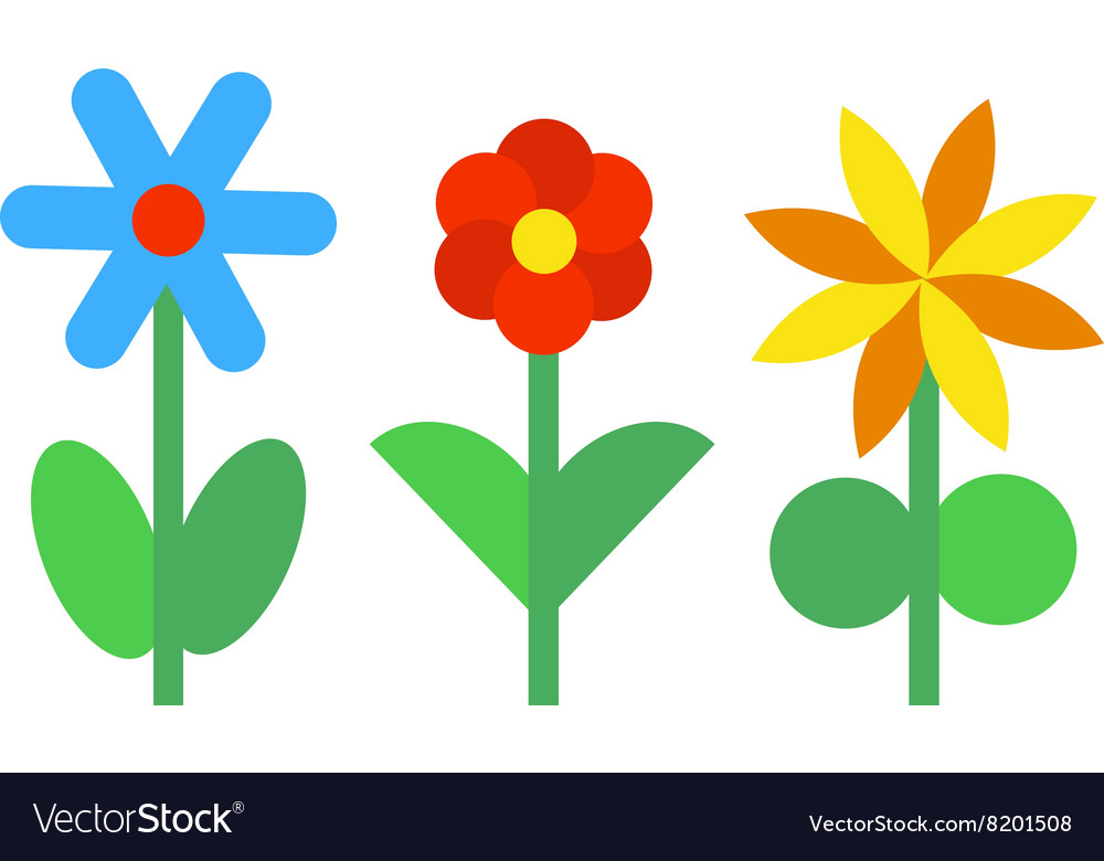 Flower icons colorful plants nature flat