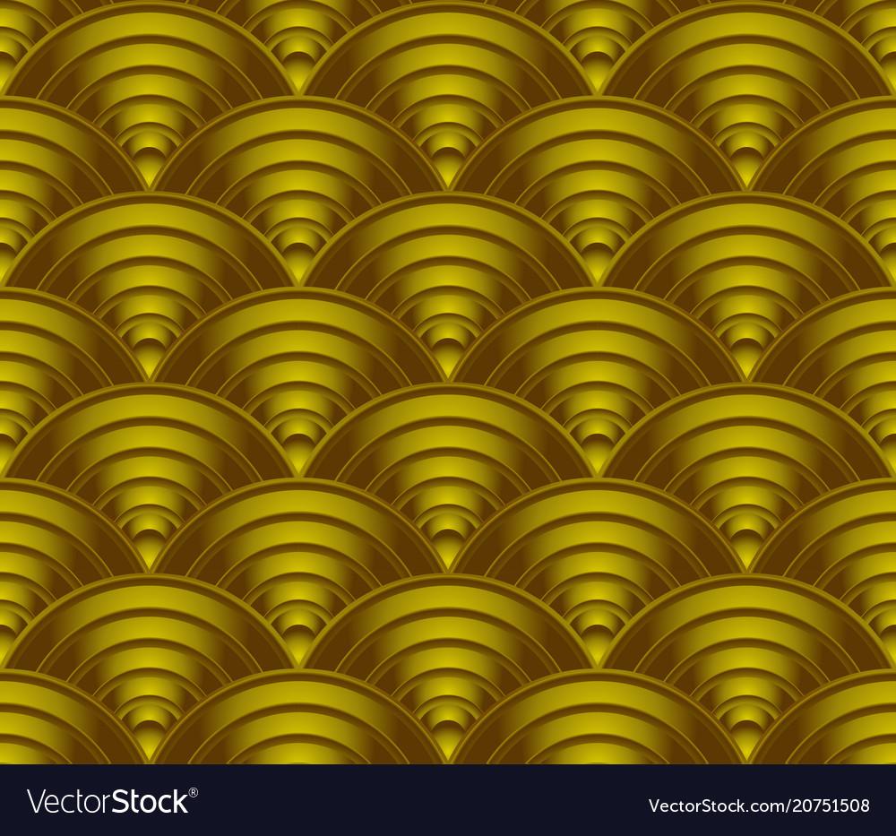 Gold wave pattern background vector image