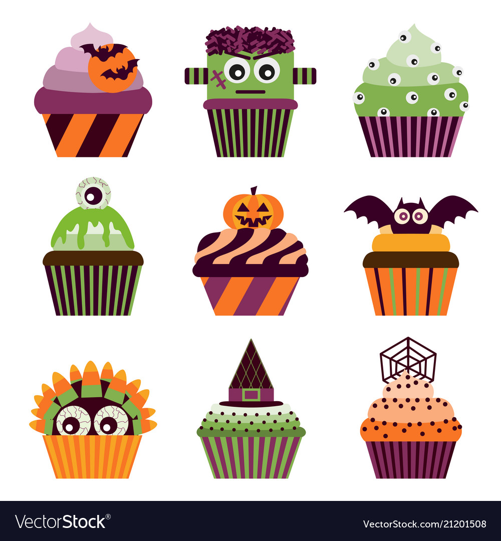 Halloween cupcakes scary sweets set
