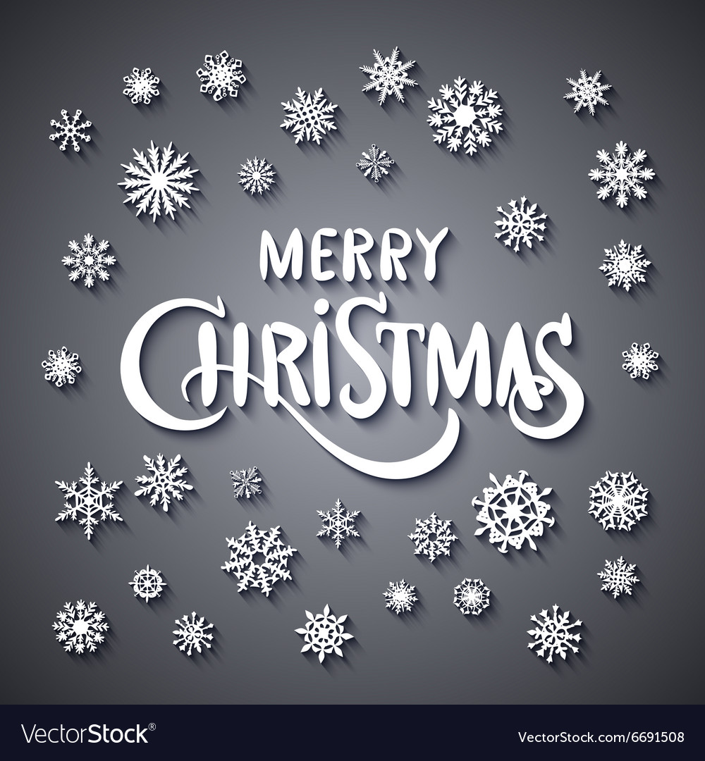 Merry Christmas - glittering lettering design with vector image