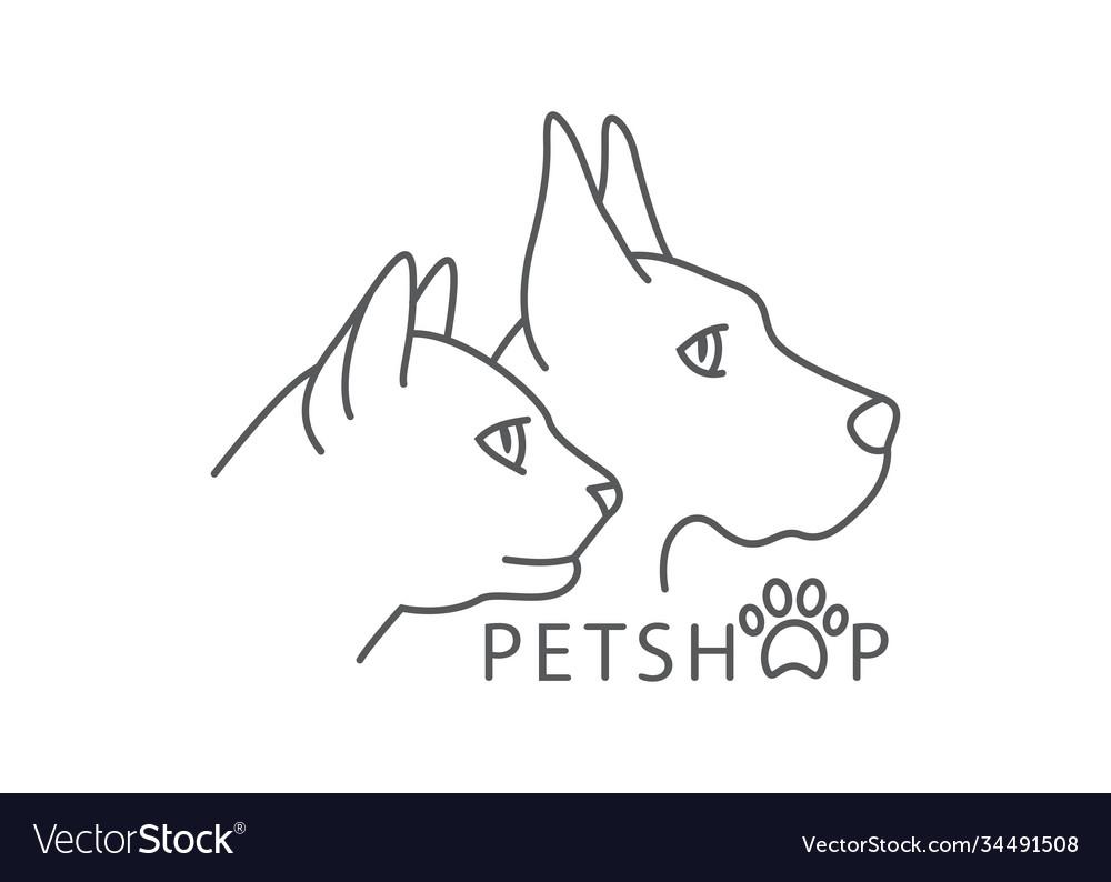 Pet shop line drawing pet shop in line