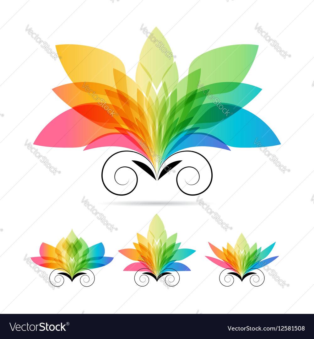Set color art flowers