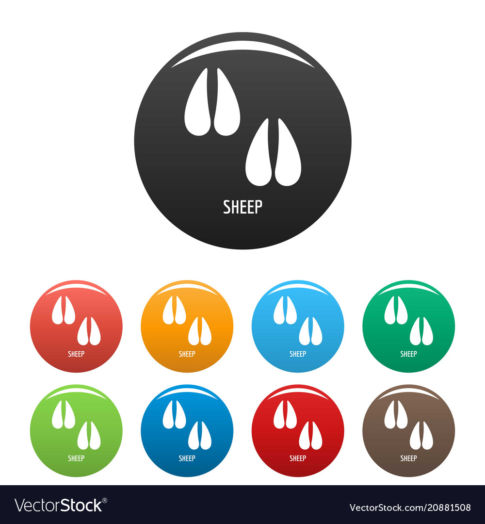 Sheep step icons set color