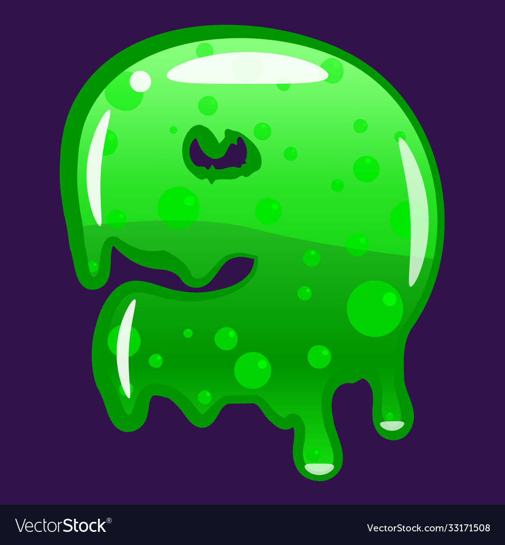 Slime font type number 9 latin alphabet green