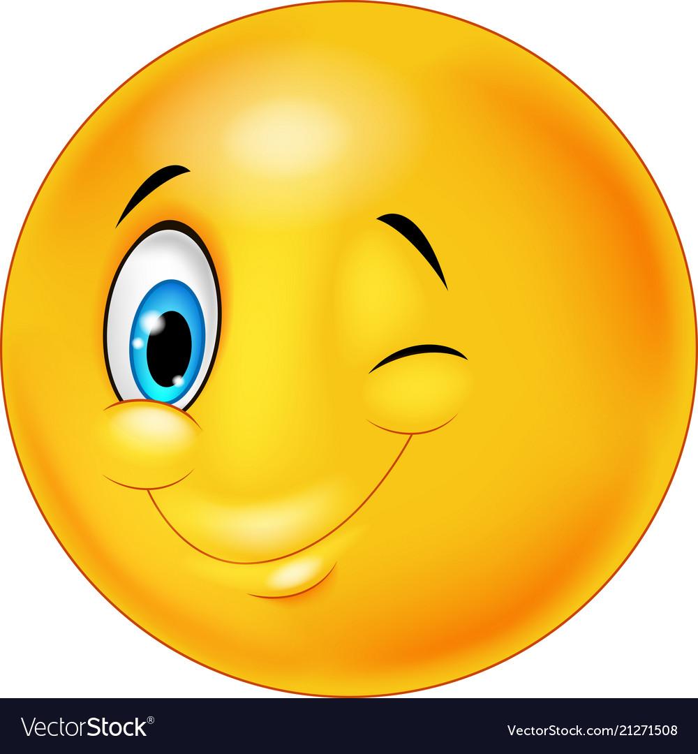 smiley happy emoticon cartoon with eye blinking vector image rh vectorstock com Eyes Blinking Icon Winking Eye Clip Art