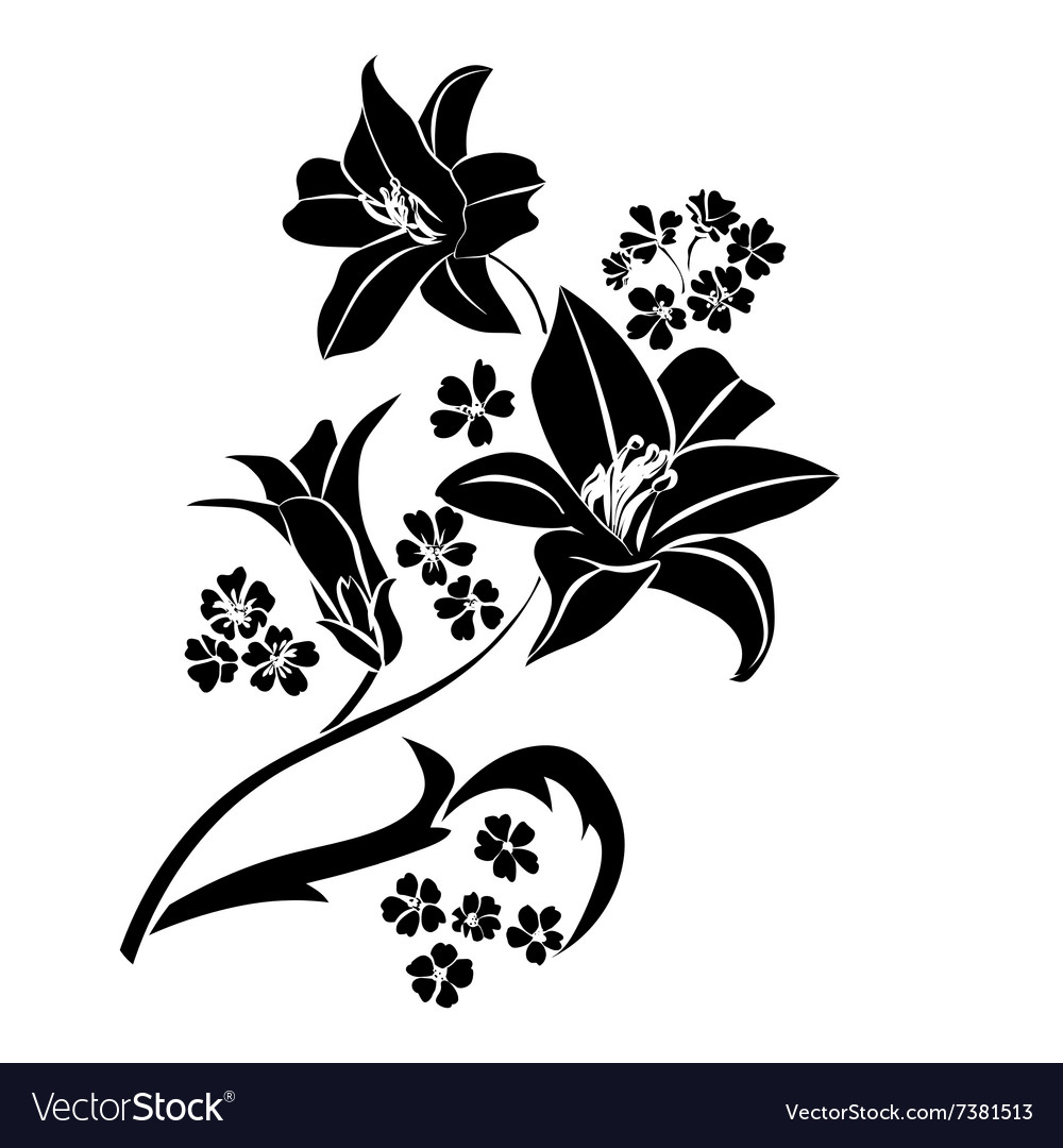 Black Silhouette Lily Royalty Free Vector Image