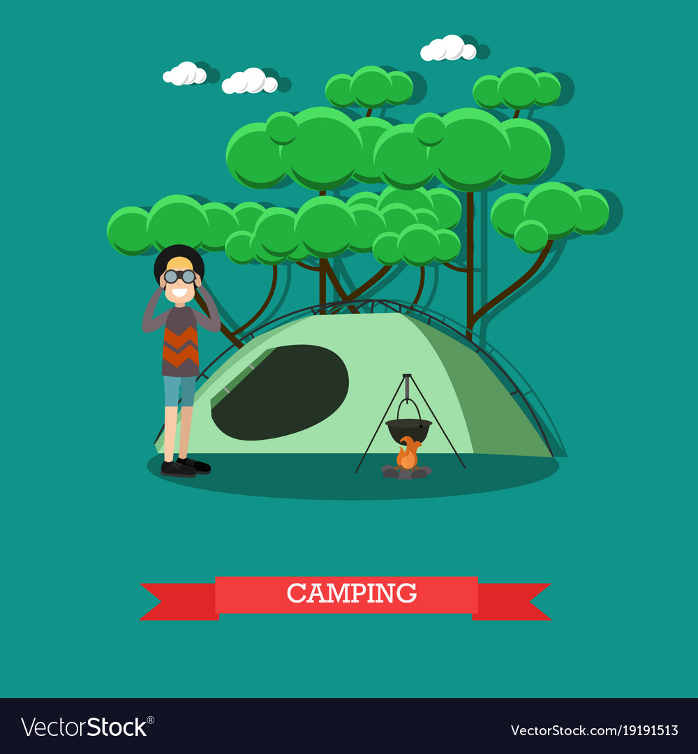 Camping concept in flat style