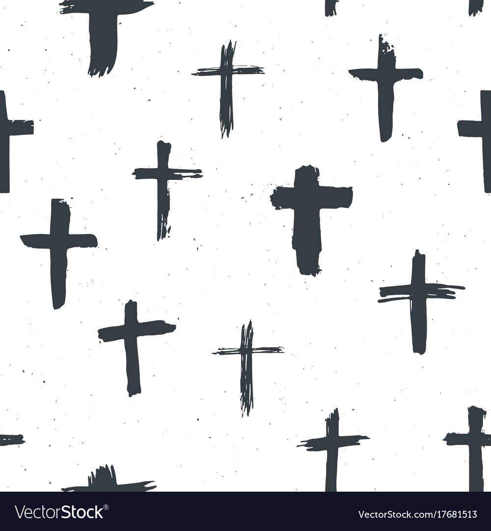 Cross symbols seamless pattern grunge hand drawn