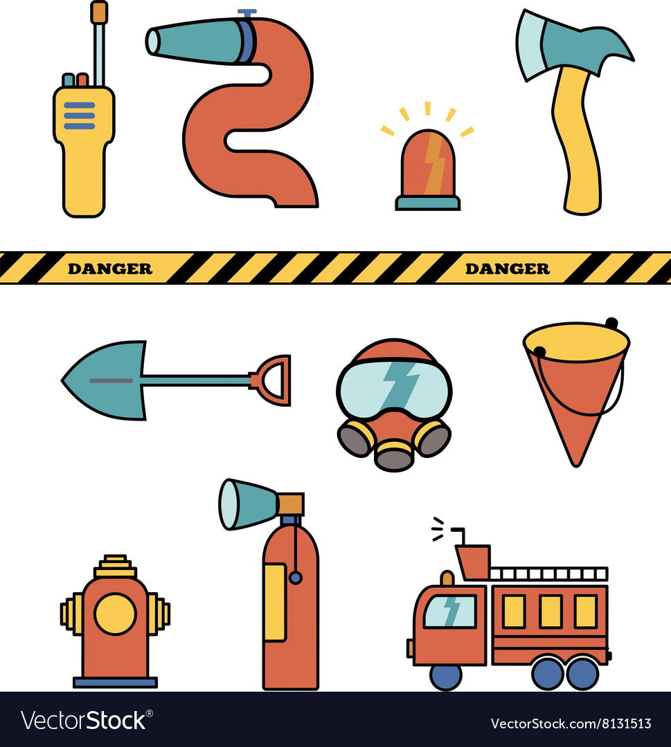 Fire-fighter elements set collection icons