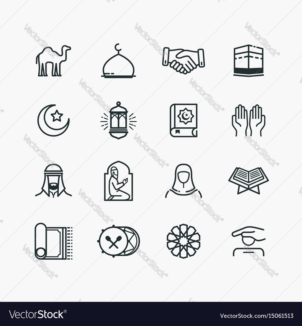 Islamic line art icons set vector image