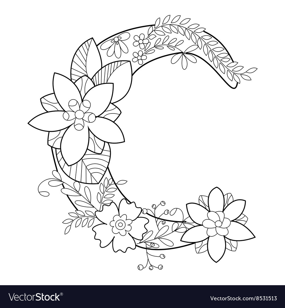 letter c coloring book for adults royalty free vector image