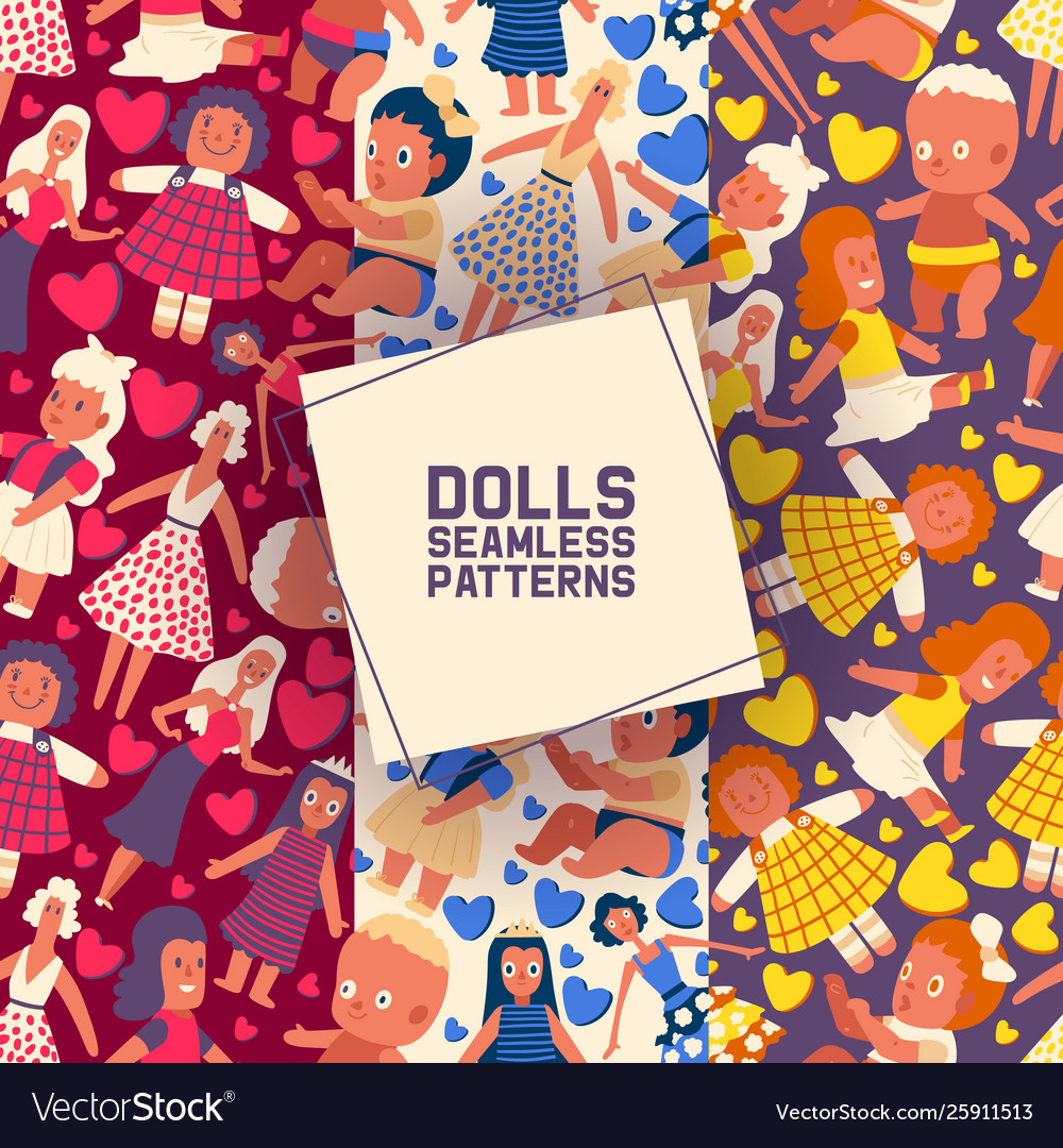 Little dolls collection set seamless patterns