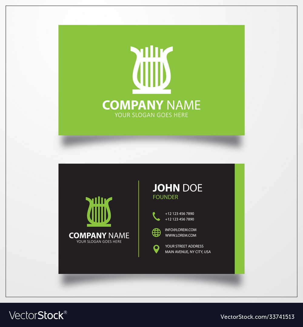 Lyre icon business card template