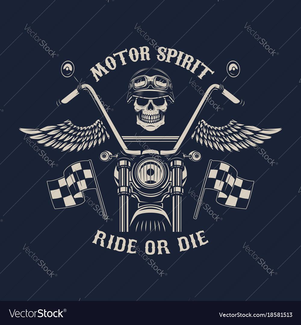 Motor spirit ride or die motorcycle with wings