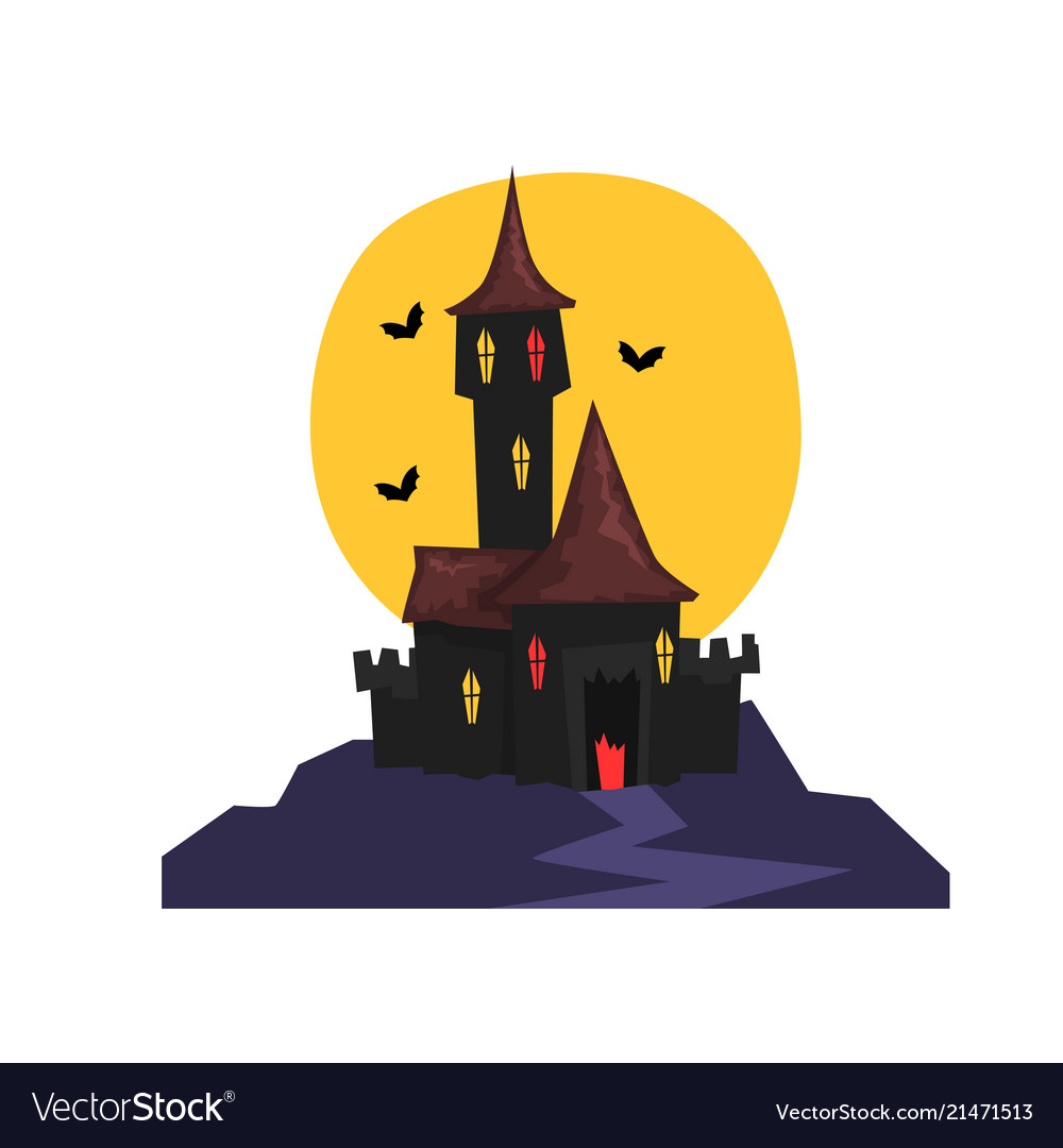 Old halloween castle with bats and full moon