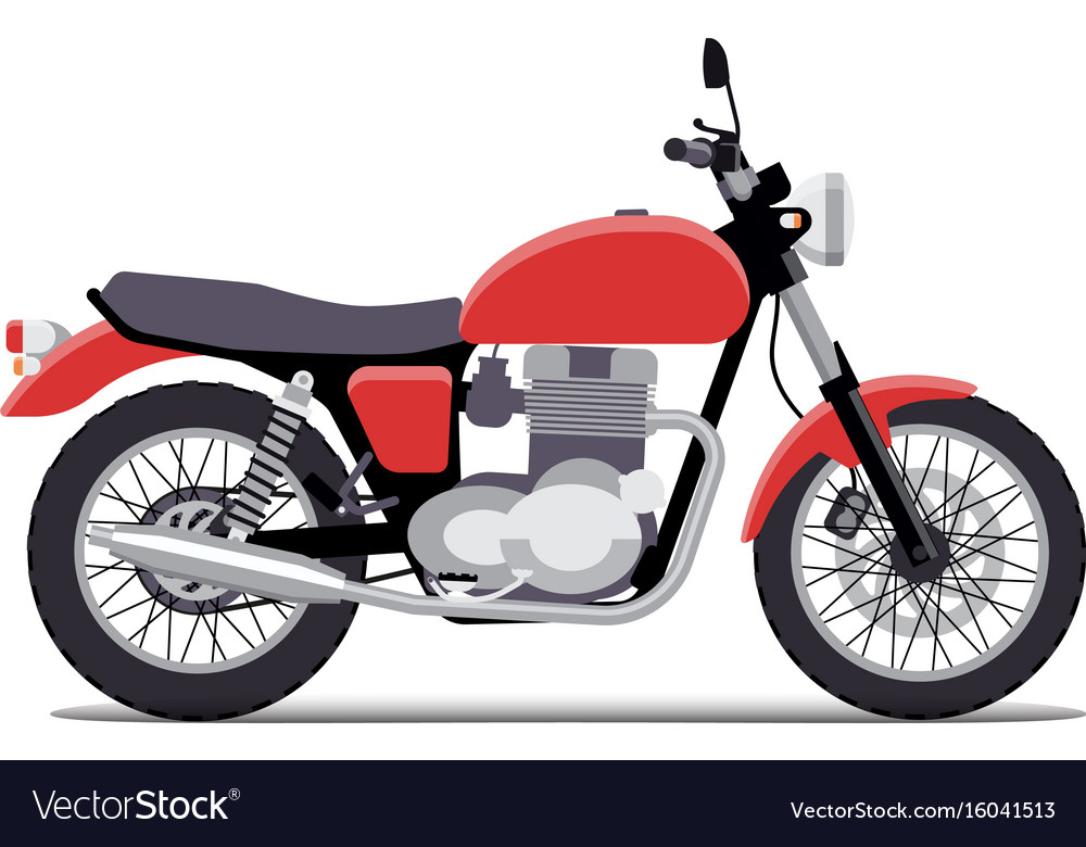 Red classic motorcycle design flat style isolated