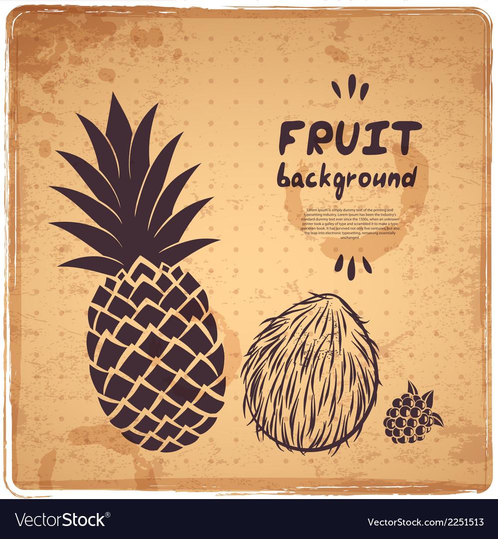 Retro pineapple vector image